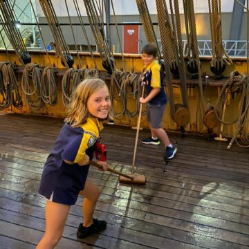 Scrubbing the deck at Cubs