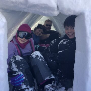 Scouts secure within their snow shelter