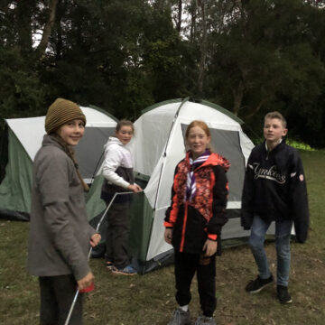 Setting up tents at the Scout Rally