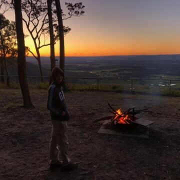 Scout camping looking over the Hunter Valley