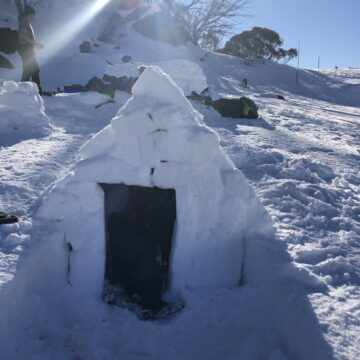 Completed scout snow shelter