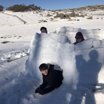 Almost complete. Scouts building igloos and other snow shelters.