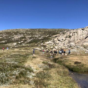 Venturers walking near Blue Lake, Snowy Mountains