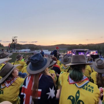 World Scout Jamboree from the ground. Akubras are part of the Australian WJS uniform